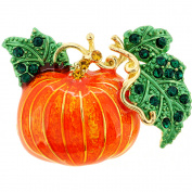 Enamel Fall Pumpkin Halloween Crystal Lapel Pin