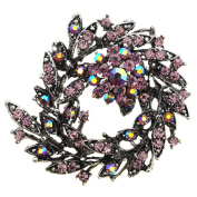Amethyst Crystal Bridal Flower Wedding Brooch/Pendant