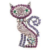 Purple Cat Kitty Crystal Pin Brooch