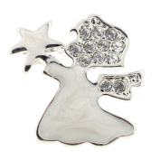 Enamel White Angel With Star Lapel Pin