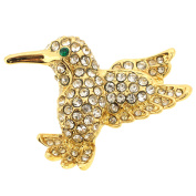 Clear Crystal Hummingbird Lapel Pin