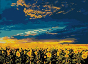 Greek Art Paintwork Paint Colour By Numbers Kit,Vast Sunflowers styleB,41cm -by-50cm