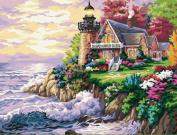 Greek Art Paintwork Paint Colour By Numbers,Seaside Villa styleB,30cm -by-41cm