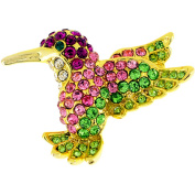 Multicolor Hummingbird . Crystal Pin Brooch