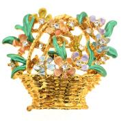 Golden Flower Basket Pin Brooch