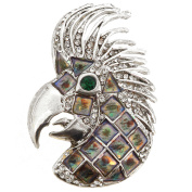 Silver Parrot Head Pin Brooch