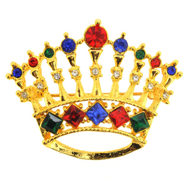 Golden Crystal Crown Pin Brooch