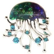 Blue Jellyfish Brooch Pin