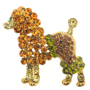 Topaz Poodle Crystal Animal Pin Brooch