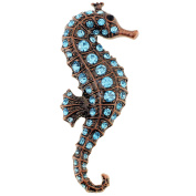 Vintage Style Turquoise Blue Seahorse Crystal Pin Brooch