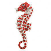 Red Seahorse Crystal Pin Brooch