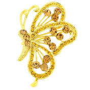 Golden Flying Butterfly Crystal Brooch and Pendant