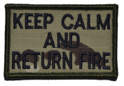 Keep Calm and Return Fire 2x3 Military Patch / Morale Patch - Multiple Colours - Multicam