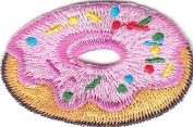 DOUGHNUT w/FROSTING & SPRINKLES/Iron On Embroidered Patch/Desserts.Treats