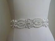 Wedding Belt Applique Bridal Belt, Sash Belt Applique, Crystal Rhinestone & Off White Pearls