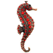 Red Ruby Seahorse Crystal Pin Brooch