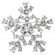 Silver Christmas Snowflake Crystal Brooch Pin