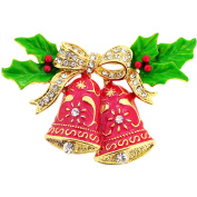 Red Christmas Bells with Bow & Holly Crystal Pin Brooch