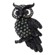 Black Owl Crystal Bird Pin Brooch