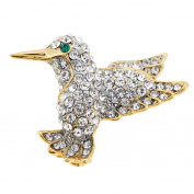 Hummingbird . Crystal Bird Lapel Pin