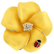 Golden Hawaiian Plumeria With Red Ladybug . Crystal Flower Pin Brooch and Pendant