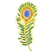 Green Golden Peacock Feather Emerald Crystal Pin Brooch