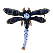 Vintage Style Montana Blue Crystal Dragonfly Pin Brooch