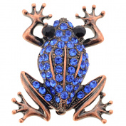 Vintage Style Sapphire Blue Frog Crystal Pin Brooch