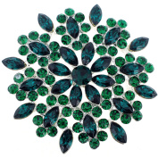 Green Crystal Flower Wedding Pin Brooch