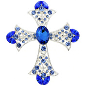 Sapphire Crystal Cross Wedding Pin And Pendant