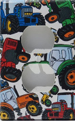 Tractor Outlet Cover Switch Plates / Red, Blue, Orange and Green Tractor Wall Decor