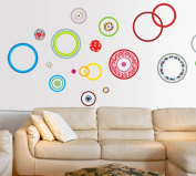 Fange Removable Colour Candy Circles Dots Art Mural Vinyl Wall Stickers Decor Livingroom Decal Bedroom Sticker Wallpaper 210cm x 90cm