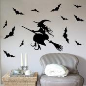 Fange Black Magic Witch Flying Bats Art Mural Vinyl Wall Stickers Decor Decal Sticker Wallpaper 90cm x 50cm