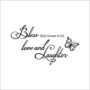 Fange Removable Bless This Home with Love and Laughter Quote Sayings Art Mural Vinyl Wall Stickers Decor Decal Sticker Wallpaper 50cm x 30cm