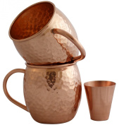Set of 2 Moscow Mule Copper Mugs with Shot Glass - Two 470ml Copper Moscow Mule Mugs - Solid Copper Hammered Mug - Copper Cups for Moscow Mules