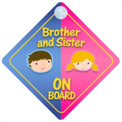 Brother And Sister On Board Car Sign New Baby / Child Gift / Present / Baby Shower Surprise