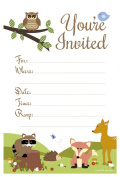 Woodland Animals Baby Shower or Birthday Invitations - Fill In Style (20 Count) With Envelopes