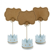 Kate Aspen Little Prince Crown Place Card Holders, Blue