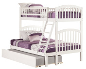 Atlantic Furniture Richland Bunk Bed, Twin Over Full with Under Bunk Drawer/Ladder, White