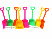 Small Toy Plastic Shovels Pink Lime Orange & Yellow, 24 Pack, 18cm Tall, 24 I Dig You Stickers