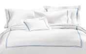 Cuddledown 400 Thread Count Sateen Comforter Cover, Queen, White/Lake