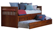 Discovery World Furniture Twin Rake Bed with 3 Drawers and Twin Trundle, Merlot