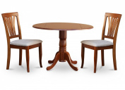 East West Furniture DLAV3-SBR-C 3-Piece Kitchen Nook Dining Table Set, Cappuccino Finish