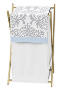 Baby/Kids Clothes Laundry Hamper for Blue, Grey and White Damask Print Avery Bedding Collection