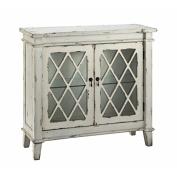 Stein World Furniture Goshen 2-Glass Door Cabinet, Antique White, White