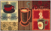Kitchen Collection Coffee Lover Cappuccino Multi-Colour Printed Slip Resistant Rubber Back Latex Contemporary Modern Runner Area Rug (9081)