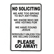 Funny No Soliciting Go Away Front Door Sign