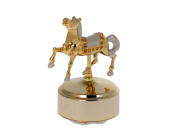 Carousel Horse 24k Gold Plated and Enamelled Rotating Musical Figurine with. Crystals