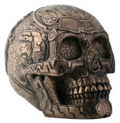 Aztec Skull Skeleton Bronze Colour Resin Collectible Statue Figurine