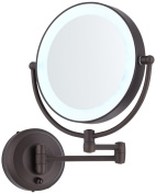 Cordless LED Pivoting 23cm Wide Bronze Wall Mount Mirror